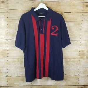 J. Peterman Men's Polo Shirt Size Large Red Navy